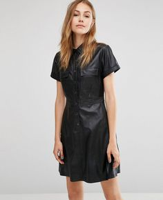 http://www.quickapparels.com/women-faux-leather-shirt-dress-with-short-sleeves.html
