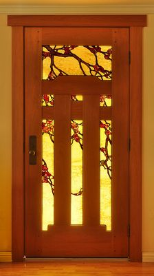 """I think this door is gorgeous, and would love to see our front door with something like this. From website: """"Mahogany door with natural oil finish and flowering branch art glass - Theodore Ellison Designs and The Craftsman Door Company"""" Wooden Front Door Design, Wooden Front Doors, Glass Front Door, Wood Doors, Entry Doors, Timber Door, Window Glass, Entrance, Craftsman Door"""