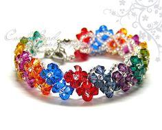 Swarovski Bracelet, Dark Berry Swarovski Crystals Bracelet by CandyBead