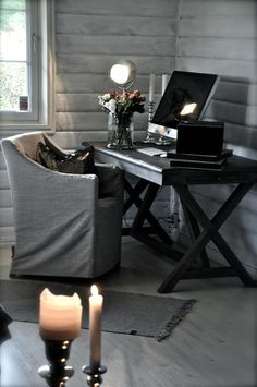 Cozy home office - nice desk, walls, and slipcover over chair