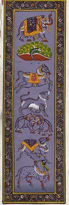 Indian-HANDMADE-Miniature-Painting-Horse-Elephant-Tiger-Camel-Bull-Peacock-Art-200718017581