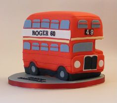 Double Decker Bus Cake on Cake Central Bus Cake, Personalised Cakes, Retirement Cakes, Double Decker Bus, British Bake Off, Red Bus, Cake Central, Novelty Cakes, Sugar Art