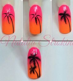 New Ideas palm tree nails nailart Nail Art Diy, Diy Nails, Cute Nails, Nail Art Palmier, Palm Nails, Palm Tree Nail Art, Nail Drawing, Nagellack Design, Nail Art Techniques