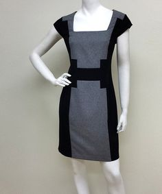Another great find on #zulily! Gray & Black Geometric Square Neck Dress by Voir Voir #zulilyfinds
