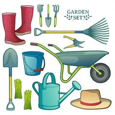Garden Illustration, Flat Design Illustration, Tool Poster, Plant Cartoon, Farm Activities, Apple Harvest, Garden Tool Set, Agriculture Farming, Garden Maintenance