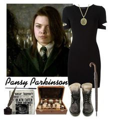 """""""Hogwarts Students #6 Pansy Parkinson"""" by leah1992 ❤ liked on Polyvore featuring SCARLETT, Alexander Wang, 1928, Barbour, slytherin, hogwarts, magic and pansyparkinson"""