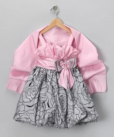 Take a look at this Pink & Silver Babydoll Dress & Shawl - Girls by Angels New York on #zulily today!