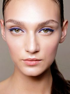 Loving this sapphire winged eyeliner and rosy cheek look