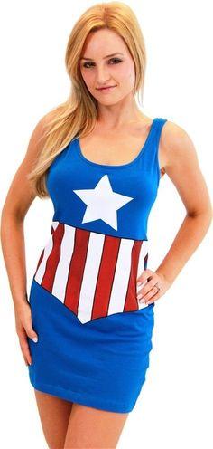 AUTHENTIC CAPTAIN AMERICA MARVEL COMICS COSTUME JUNIORS COSPLAY TANK DRESS S-XL in Vêtements, accessoires, Déguisements, costumes, Déguisements   eBay