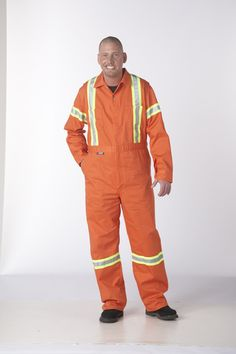 Zip Front Coveralls w/Hi-Vis Reflective Tape : All the same features as the Coverall with the added protection of high visibility reflective tape to keep you safe at the job site. Bib Overalls, Work Shirts, Work Pants, Work Wear, Parachute Pants, Tape, Rain Jacket, Windbreaker, Canada