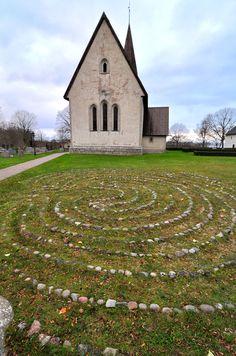 Stone labyrinth by Fröjel church, Gotland, Sweden