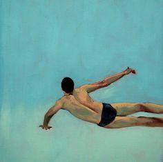 Artist: Robyn West ---Smilingrobyn on Etsy-- balanced. blue water. small. print.