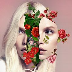 We Are Made Of Flowers: Marcelo Monreal Contemporary art, collage, portrait, photomontage: girl with flowers Art Du Collage, Digital Collage, Collage Portrait, Collage Artists, Face Collage, Surreal Collage, Flower Collage, Digital Art, Photomontage