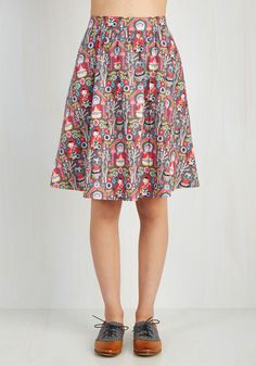 Flaunts Upon a Time Skirt. Tales of your travels in this cotton skirt will echo through the ages! #grey #modcloth