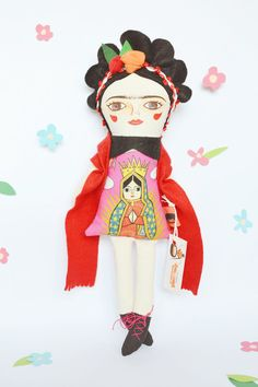 Frida Kahlo doll by Mandarinas De Tela #MandarinasDeTela #fridakahlo #dolls