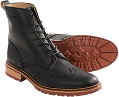 $229, Black Leather Brogue Boots: Frye Modelcurrentbrandname James Lug Wingtip Leather Boots. Sold by Sierra Trading Post. Click for more info: https://lookastic.com/men/shop_items/242607/redirect