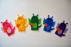 rainbow dragon finger puppets