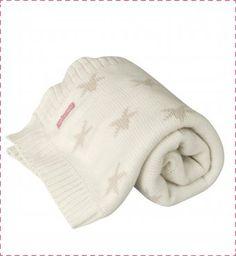 couverture bébé tricotée écrue étoiles