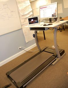 Walk Code DIY Treadmill Desk by Doug at Light: By removing the control console and replacing it with a desk, a large and stable work surface is created. For those of us who get stiff and kinked sitting in front of a monitor this would be so great! Treadmill Desk, This Is Your Life, What I Need, Work Surface, My New Room, Home Office, Finals, Sweet Home, Cool Stuff