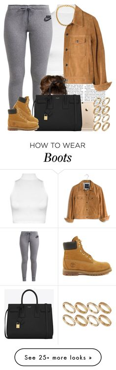 """""""Something simple for the rain. """" by livelifefreelyy on Polyvore featuring WearAll, NIKE, Madewell, Yves Saint Laurent, Timberland and ASOS"""
