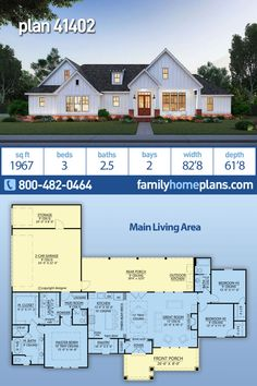 New Farmhouse House Plan Three Bedrooms and Great Curb Appeal - Family Home Plans - Almost 2000 sq. of country farmhouse with 3 beds, baths, open floor plan, split bedroom, la - Family House Plans, Ranch House Plans, New House Plans, Dream House Plans, Dream Houses, Ranch Floor Plans, Rambler House Plans, House Design Plans, 2200 Sq Ft House Plans