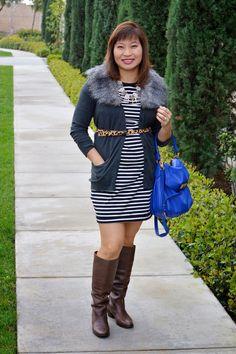 Over 40 Fashion blogger, OC Blogger, J Crew Necklace, Old navy Stripe dress, faux fur cardigan