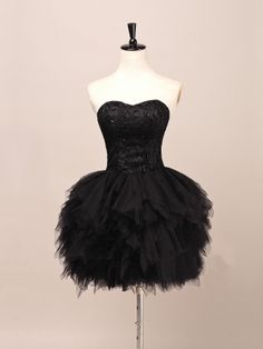 Puffy Black Lace Ball Gown Sweetheart Neckline Mini Homecoming Dress with Lace up