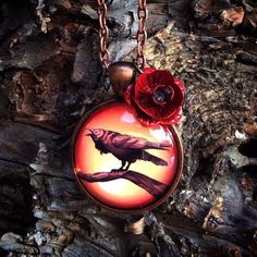 Raven Necklace with Rose Charm by LizzieMPress on Etsy