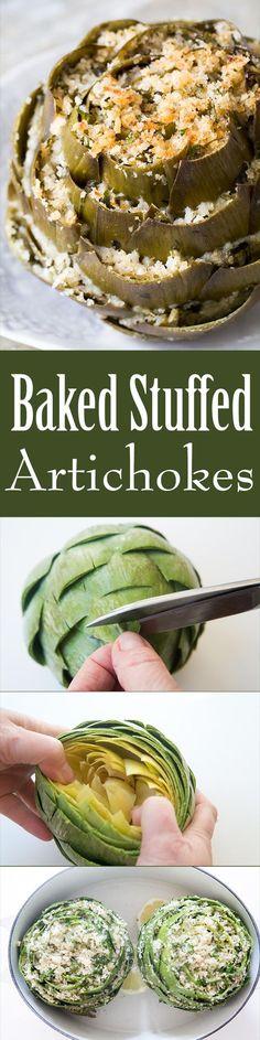 Stuffed artichokes are a perfect artichoke appetizer! Globe artichokes are trimmed and stuffed with herbed parmesan breadcrumb stuffing, then baked.