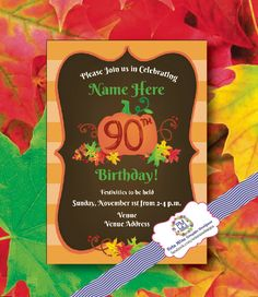 Fall Party or Birthday Invitation by ErinMizeDesigns on Etsy