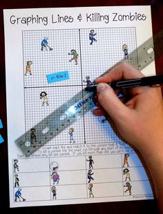 Lines & Zombies ~ Slope Intercept Form Zombies & Graphing Lines sounds like fun! My Grade Math & Algebra students would love this activity!Zombies & Graphing Lines sounds like fun! My Grade Math & Algebra students would love this activity! Maths Algebra, Math Tutor, Math Teacher, Math Classroom, Teaching Math, Math Multiplication, Algebra Help, Teaching Geometry, Fractions