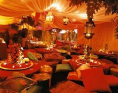 This is the look we're going for in the dining area of the Festival hall: ceiling and walls completely draped for cozy, intimate, insulated feeling   American Gypsy Living: Turkish Tents + Arabian Camping