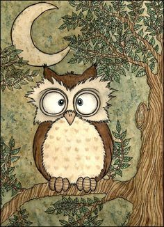 Cross-eyed Owl under the moon. Drawing by Ines Peace Owl Illustration, Illustrations, Owl Art, Bird Art, Paper Owls, Owl Pictures, Owl Always Love You, Owl Crafts, Wise Owl