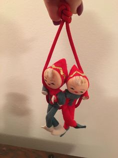 Vintage Christmas Pixie Elves on Red Swing Ornament Japan by VintageLove50 on Etsy