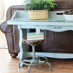 Outdated sofa table from the 70's was refinished and given new life with chalk paint. Coastal cottage chic.