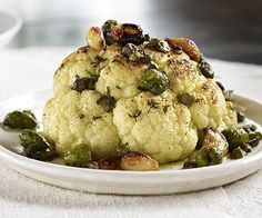 Marinated, Roasted Cauliflower with Olives, Capers & Herbs