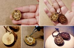 pyrography(wood burning) on wooden pendant.