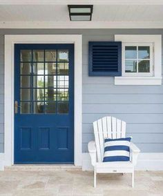 Modern beach house exterior colors blue and front doors . Cottage Exterior Colors, House Exterior Color Schemes, Beach Cottage Exterior, Beach Cottage Style, Beach Cottage Decor, House Paint Exterior, Light Blue Houses, Beach House Colors, Tiny House