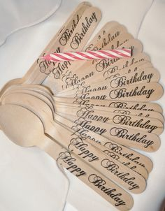 20 Wooden Happy Birthday Spoons - 20 Total Pieces Hand Stamped Wooden Spoons…