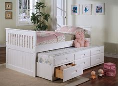 ok now to find this bed! This is the one. puts what we are looking for all in one. bed with trundle and storage draws
