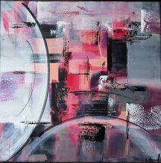 Peinture acrylique Rose Violet Gris Noir Blanc : Peintures par stephanie-menard