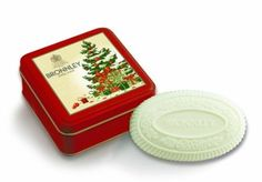 Bronnley Classic Christmas Tree Soap Tin with Apple and Cinnamon Soap
