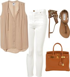 Eleanor Calder inspired outfit with white jeans by eleanorcalder-style featuring gold handbagsNSF button down shirt / High rise jeans / Steve Madden shoes / Hermès gold handbag