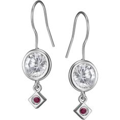 ELLE Jewelry - ROCK CANDY Sterling Silver Sparkling CZ Eurowire... ($75) ❤ liked on Polyvore featuring jewelry, earrings, cubic zirconia jewelry, sparkly earrings, cz jewelry, dangle earrings and cubic zirconia dangle earrings