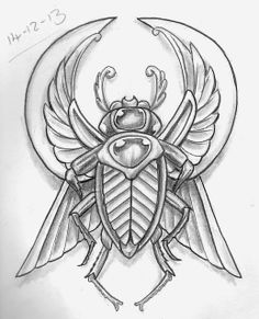 Tattoo Sketch A Day: Insects December 8th - 14th Egyptian Beetle Scarabs Tattoo Flash Art ~A.R.