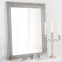 Miroir en bois de paulownia argenté H 90 cm VALENTINE