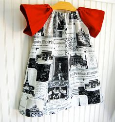 French Newsprint Dress Short Sleeve Chic 1218 MOS by thetrendytot, $38.00