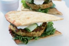 The flavours of India come alive in these tasty chicken burgers in Naan bread.