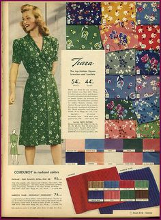 """1942 Sears catalog fabrics.My dad's mother wore this type of dress at home. It was called a """"housedress""""."""
