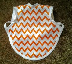 Waterproof Bapron/The Baby Apron - 6-18 months with Orange Chevron by GrandmaSewsBest on Etsy